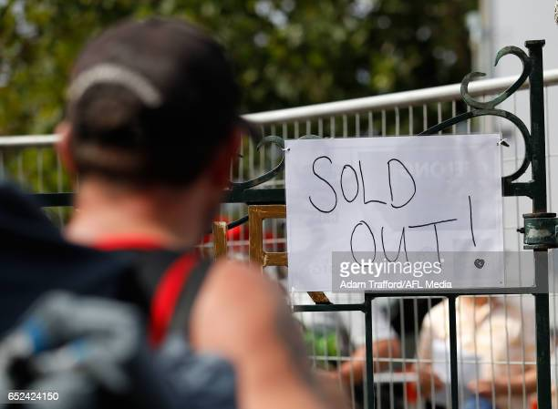 A sold out sign is seen during the AFL 2017 JLT Community Series match between the Geelong Cats and the Essendon Bombers at the Queen Elizabeth Oval...