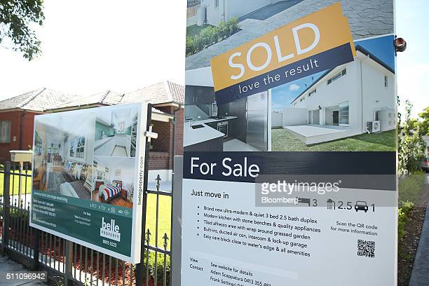A sold sign is displayed in front of a house in the suburb of Five Dock in Sydney Australia on Wednesday Feb 17 2016 Australia's opposition Labor...