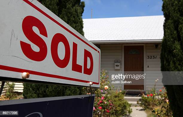 Sold sign is seen in front of a home that was for sale July 23, 2009 in Richmond, California. The National Association of Realtors reported today...