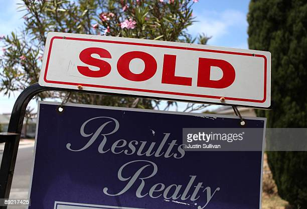 """Sold"""" sign is seen in front of a home that was for sale July 23, 2009 in Richmond, California. The National Association of Realtors reported today..."""