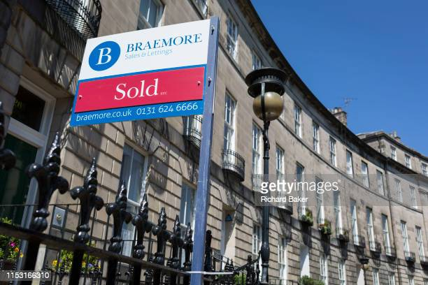 Sold sign outside a property on Royal Circus in Edinburgh, on 26th June 2019, in Edinburgh, Scotland.