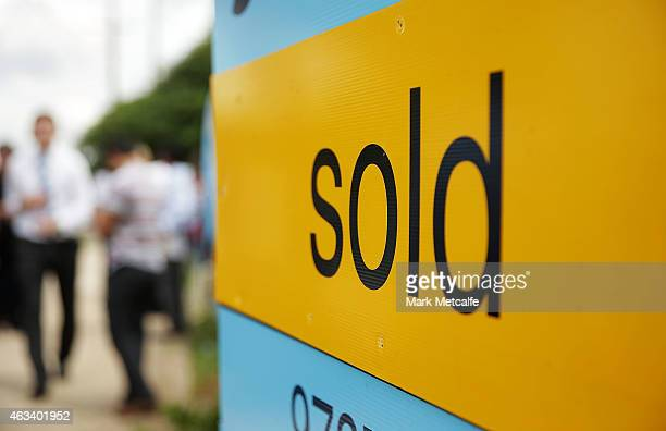 A sold sign stands on display after the home auction for a fourbedroom house at 230 Blacktown Road on February 14 2015 in Blacktown Australia The...