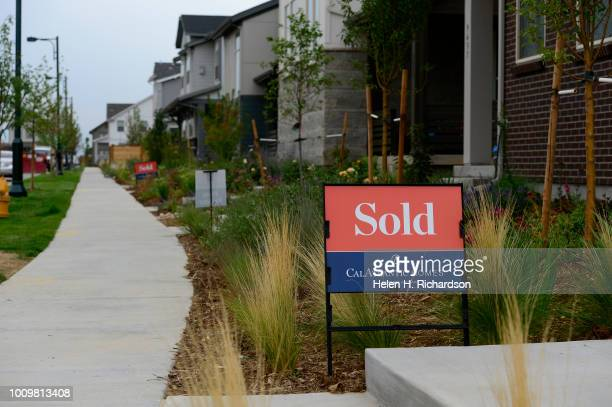Sold signs can be seen on many of the homes in Stapleton's Beeler Park neighborhood on August 1 in Denver Colorado Developer Forest City is about to...