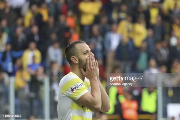 Soldado of Fenerbahce reacts during Turkish Super Lig soccer match between MKE Ankaragucu and Fenerbahce at Eryaman Stadium in Ankara Turkey on April...