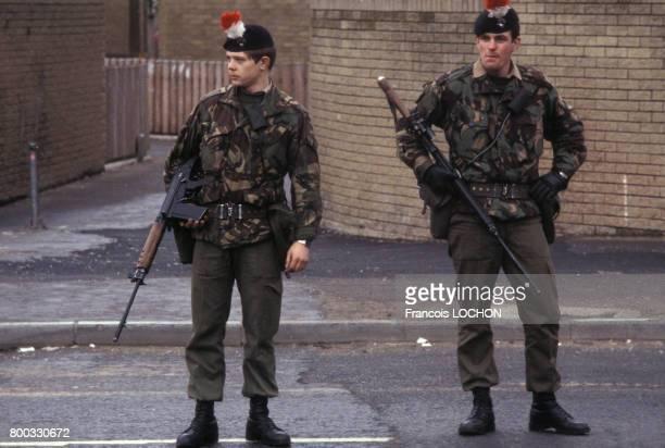 Soldats britanniques à Belfast après la mort de Bobby Sands en mai 1981 au RoyaumeUni