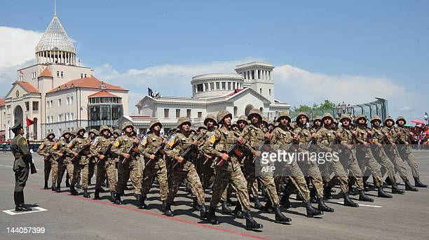 Solders of Azerbaijan's breakaway region of Nagorny Karabakh march in Stepanakert, the capital of Nagorny Karabakh, on May 9 during a military parade...