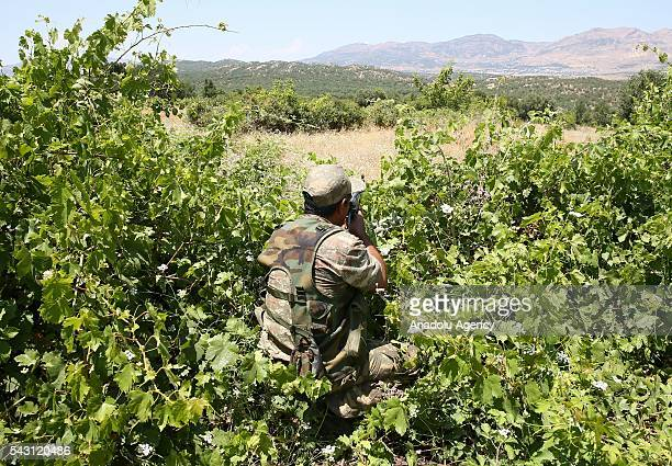 A soldier aims his rifle as the members of the 'Flag14 Martyred Gendarme Lieutenant Abdulselam Ozatak Joint Special Forces' destroy cannabis fields...