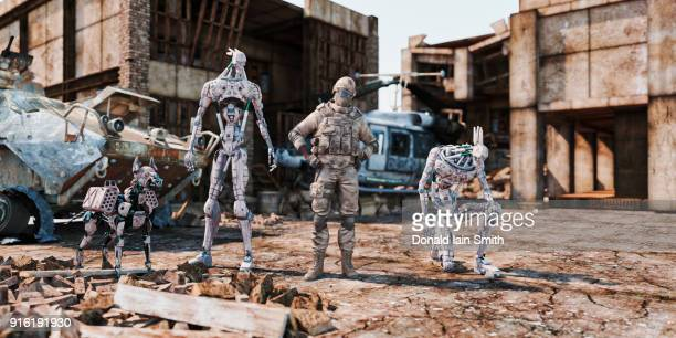 soldier and military robots standing near rubble - dog fight stock pictures, royalty-free photos & images