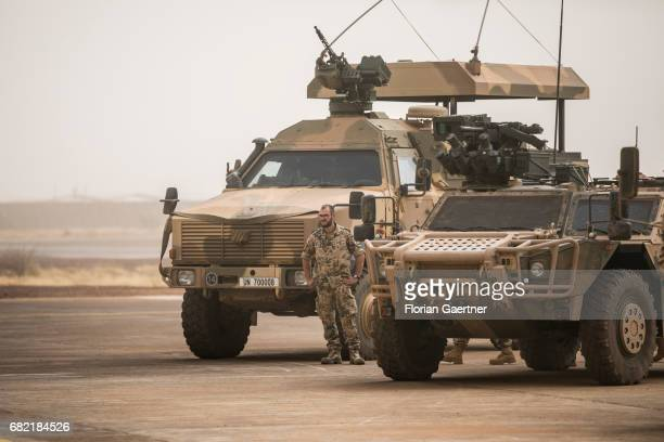 Soldier and military vehicles of the UN on a base in Mali on April 07 2017 in Gao Mali
