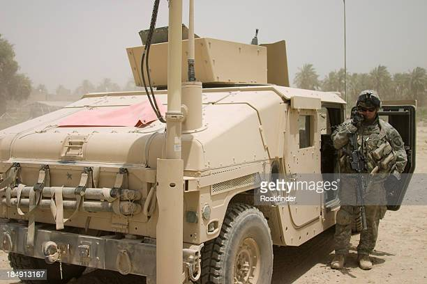 soldier and truck - us military stock pictures, royalty-free photos & images
