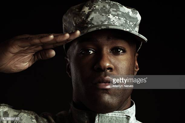 soldier at attention - saluting stock pictures, royalty-free photos & images