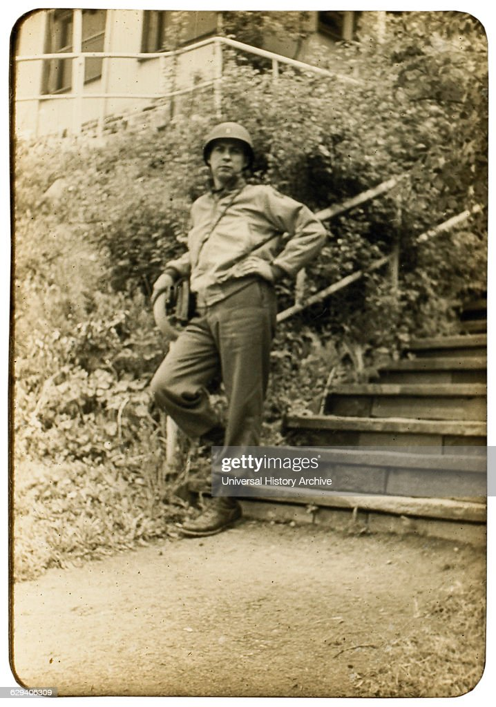 Soldier at Base of Stairway, Portrait, WWII, Third Army