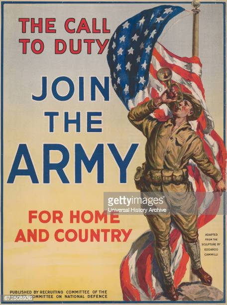 Soldier Blowing Bugle near American Flag The Call to Duty Join the Army for Home and Country World War I Recruitment Poster USA 1917