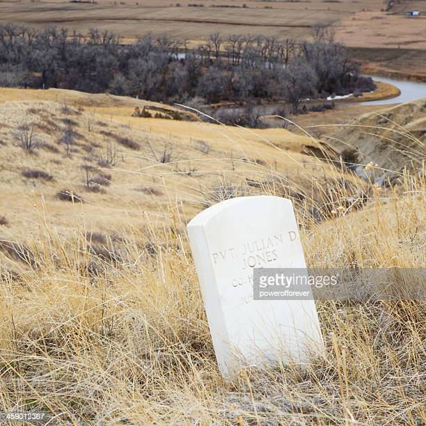 US Soldier Death Markers at Little Bighorn Battlefield Monument