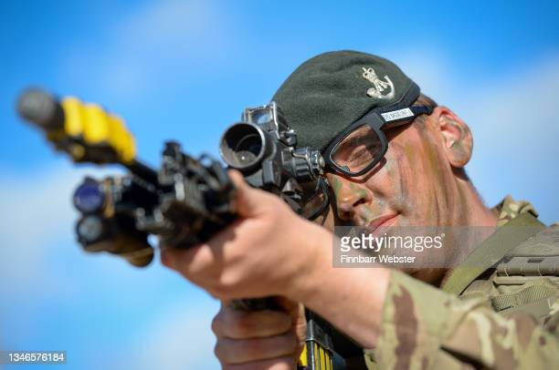 Soldier demonstrates the EXO Insight glasses which are an eye tracking virtual behaviour monitoring system on October 14, 2021 in Salisbury, England....