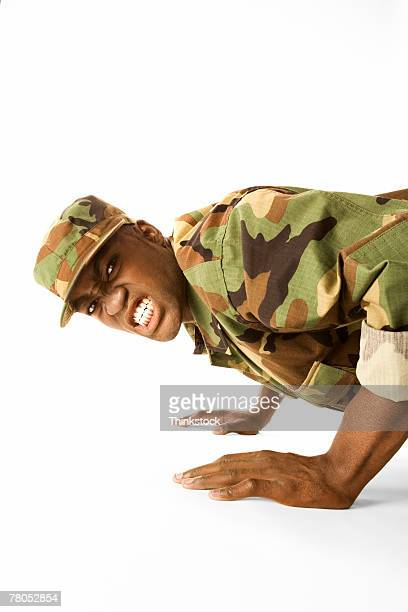 Soldier doing push-ups