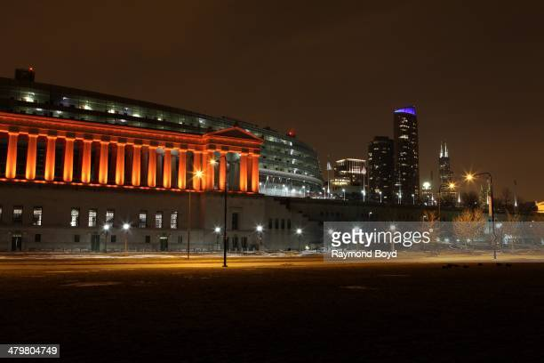 Soldier Field, home of the Chicago Bears football team and partial view of the Chicago skyline in Chicago, Illinois on MARCH 07, 2014.