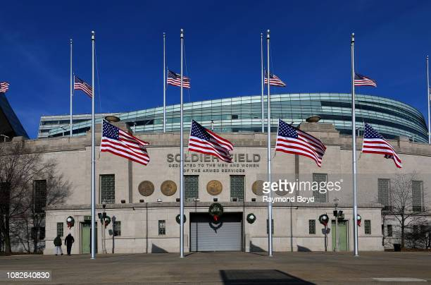 Soldier Field, home of the Chicago Bears football team in Chicago, Illinois on December 11, 2018.