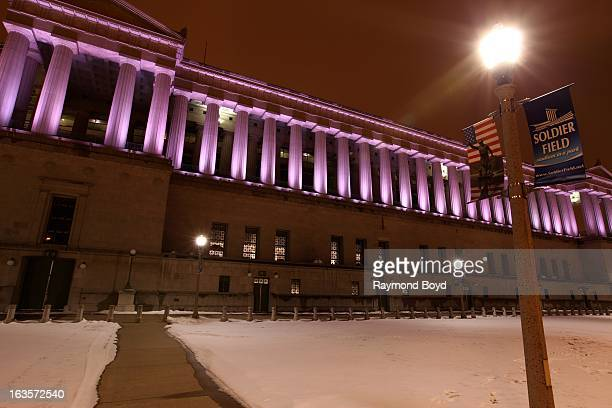 Soldier Field, home of the Chicago Bears on a winter night, in Chicago, Illinois on FEBRUARY 16, 2013.