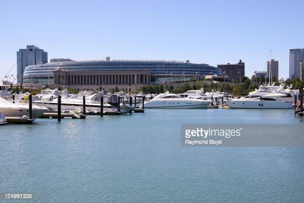 Soldier Field serves as a backdrop as boats dock in Burnham Harbor in Chicago, Illinois on SEPT 07, 2011.