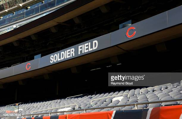 Soldier Field signage at Soldier Field, home of the Chicago Bears football team in Chicago, Illinois on December 11, 2018.