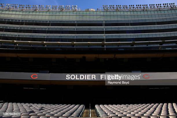 Soldier Field signage at Soldier Field home of the Chicago Bears football team in Chicago Illinois on December 11 2018