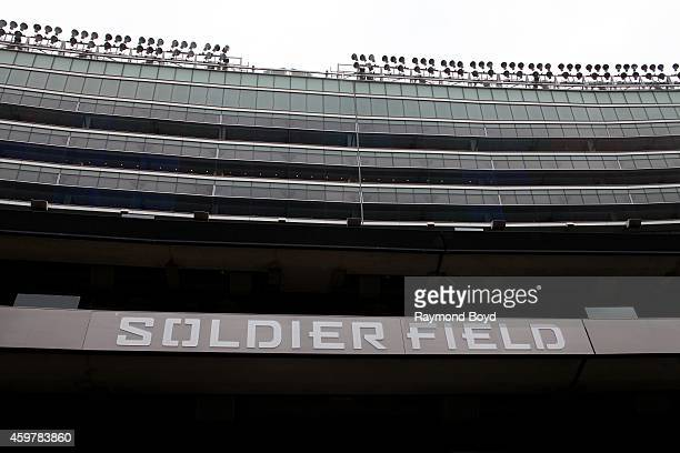 Soldier Field signage at Soldier Field, home of the Chicago Bears football team in Chicago on November 26, 2014 in Chicago, Illinois.