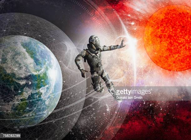 soldier floating in force field in outer space - shielding stock pictures, royalty-free photos & images