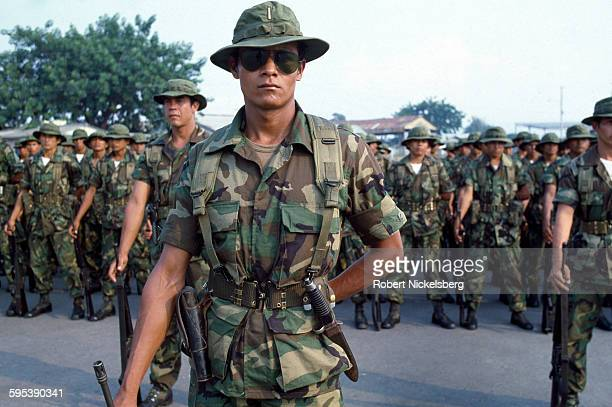 Soldier from an unidentified Salvadoran Army unit stand at attention at a military base El Salvador March 1 1982 At the time the country was engaged...