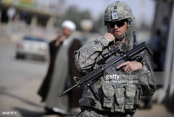 A US soldier from Delta troop 51 Cavalry takes part in a patrol in the eastern town of Khanaqin in Diyala province near Iraq's border with Iran on...