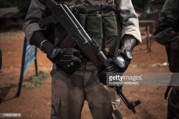 Soldier from Territorial Intervention Brigade 6 of the Central African Armed Forces stands on standby 1km from the front line, in Boali, January 10,...