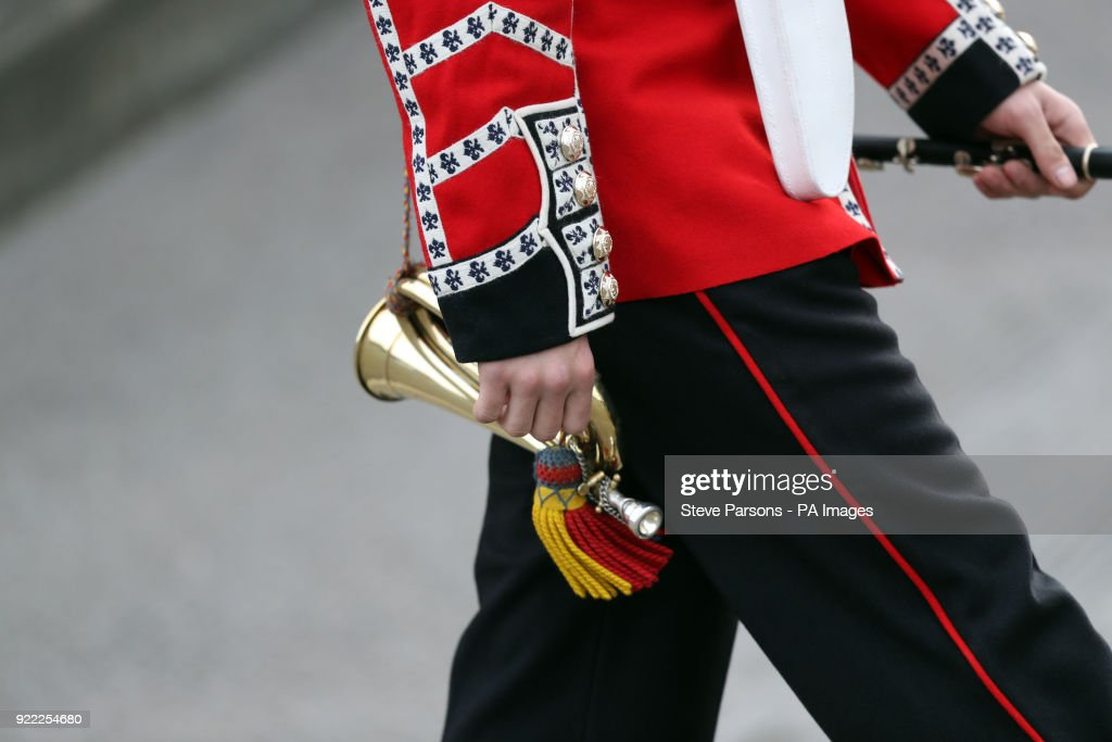 A soldier from the 1st Battalion Coldstream Guards at Victoria Barracks in Windsor, Berkshire, in preparation for Trooping the Colour.