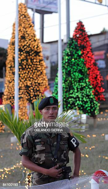 """Soldier from the Army of Honduras monitors the vicinity of the Government House, where the festival """"A Christmas Solidarity"""" the December 20, 2008...."""