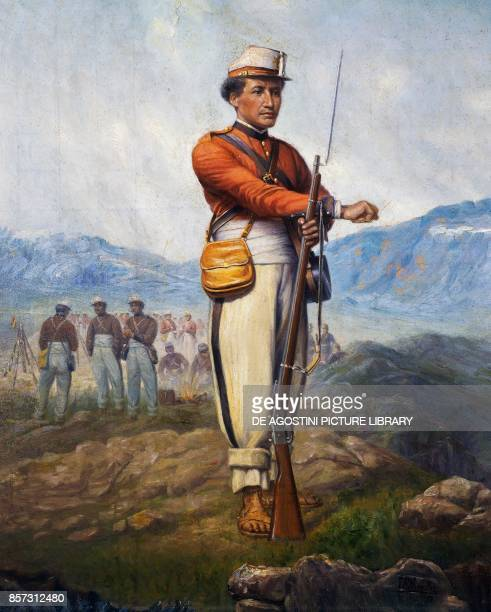 Soldier from the Bolivian army Pacific war 18791884 oil on canvas