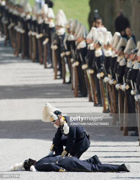 A soldier from the royal guard lies on the ground after fainting during guests arrival for Princess Leonore's christening on June 8 2014 at the Royal...