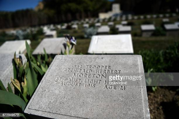 ANZAC soldier grave stones are pictured at the ANZAC cemetery near the ANZAC cove on April 24 2017 in Canakkale before the ceremony celebrating the...