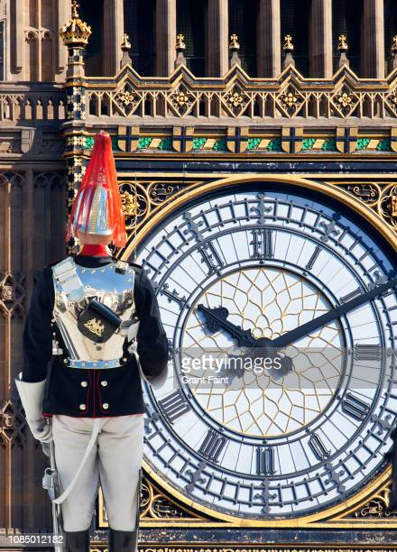 soldier, guard standing at attention and big ben - guildhall london stock pictures, royalty-free photos & images