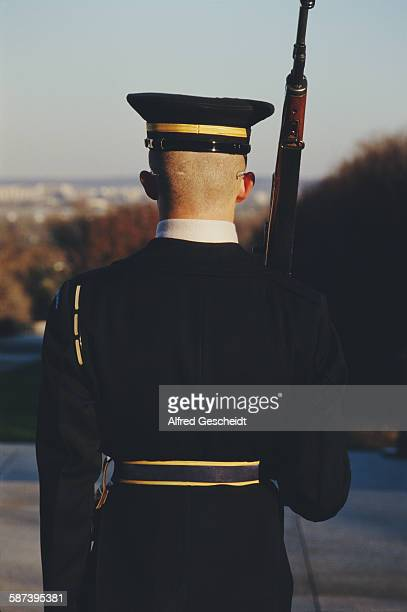 A soldier guarding the Tomb of the Unknowns in Arlington National Cemetery Virginia 1987