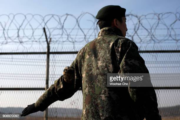 Soldier guards at the entrance of Unification Bridge which is the border of Civilian Controled Zone before the torch relay for PyeongChang 2018...