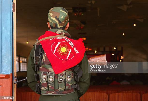 A soldier guards at the Kachin State Special Region 1 People's Conference on March 20 2006 in Panwa Kachin State Special Region 1 of Kachin State...