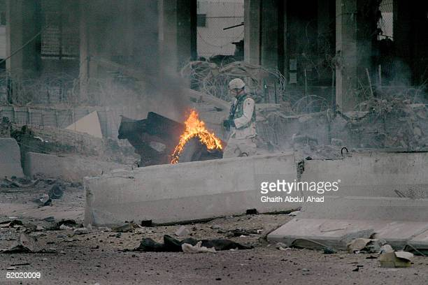S soldier guards the gate of the Australian embassy where a massive car bomb exploded January 19 2005 in the al Karrada neighborhood of Baghdad Iraq...