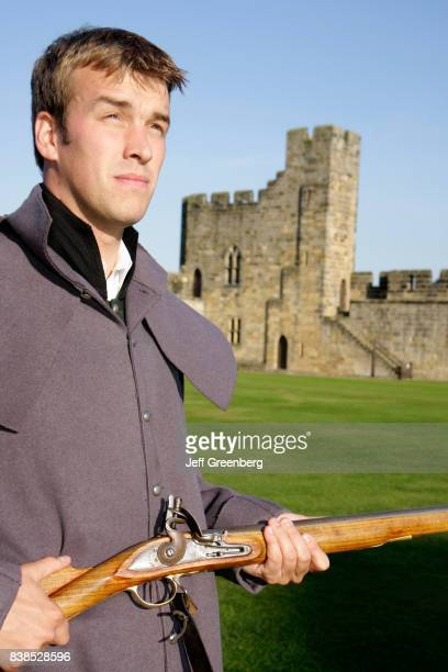 A 1798 soldier guide holding a rifle at Alnwick Castle