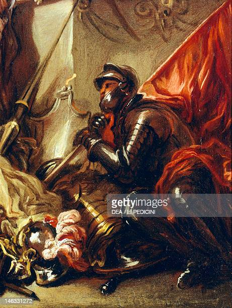Soldier holding a banner detail from the Allegory of War by Luca Giordano oil on canvas 61x50 cm