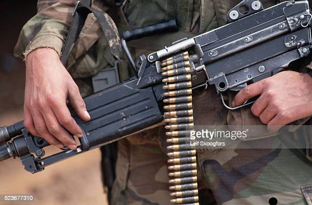 Soldier Holding Automatic Weapon