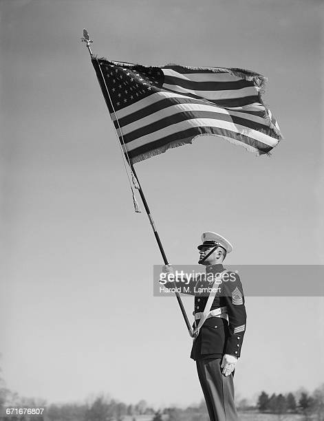 Soldier Holding US Flag