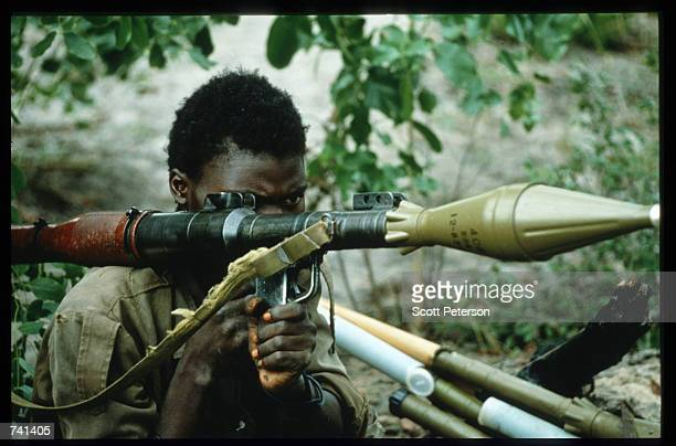 UNITA soldier holds an antitank weapon January 23 1990 near Jamba Angola The National Union for the Total Independence of Angola and the Marxist...