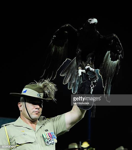 A soldier holds up the eagle mascot called 'Courage' of the 2nd Calvary Regiment during ANZAC Day commemorations before the start of the round eight...