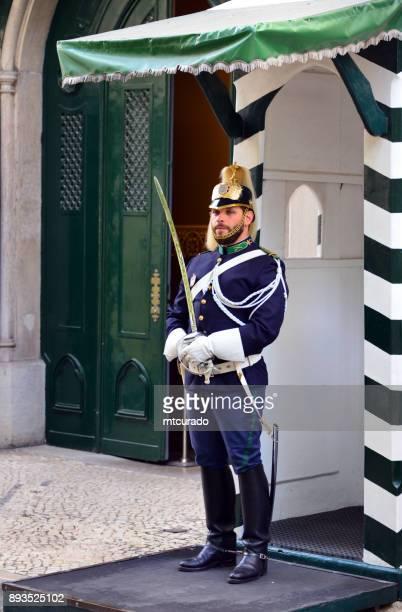 Soldier in dress uniform at the HQ of the National Republican Guard - Guarda Nacional Republicana, Lisbon, Portugal - Quartel do Carmo
