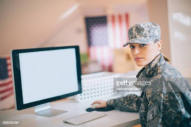 US soldier in the office