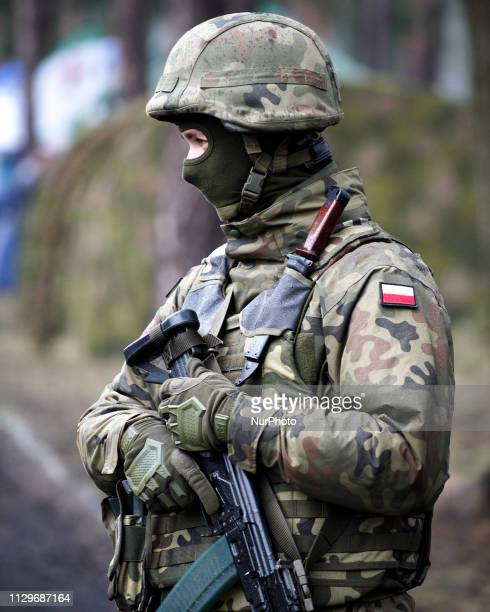 A soldier is seen at the Army Logistics base in Bydgoszcz Poland on March 9 2019 The local military base organized a public picnic on the occasion of...